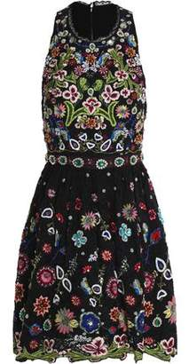 Alice + Olivia Talulah Embellished Corded Lace Mini Dress