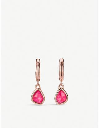 Monica Vinader Siren Mini Nugget 18ct rose-gold vermeil and pink quartz hoop earrings