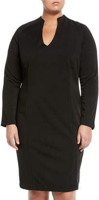 Alexia Admor Plus Military-Neck Long-Sleeve Slim-Fit Dress, Plus Size