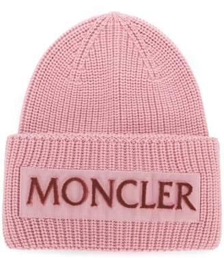 Moncler rib knit logo beanie