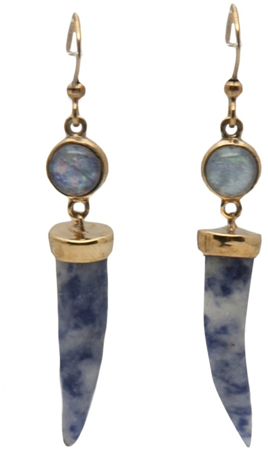 Petite horn and cabochon earring