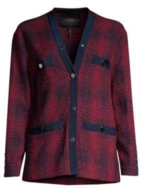 Maje Women's Plaid Button-Front Jacket - Checked - Size 40 (8)