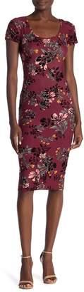 Planet Gold Yvette Velvet Floral Print Dress