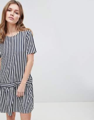 Ichi Drop Waist Stripe Dress