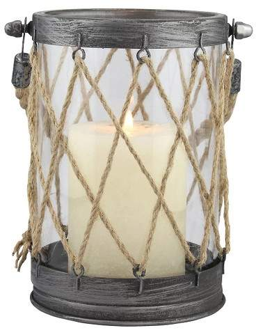 CKK Home Decor Small Stonebriar Vintage Zinc and Twine Nautical Candle Lantern