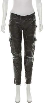 Balmain Low-Rise Leather Pants