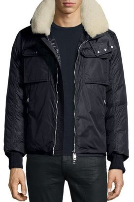 Moncler Darwin Shirt Jacket w/Shearling Collar, Navy $2,550 thestylecure.com