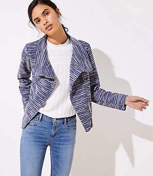 LOFT Striped Knit Moto Jacket