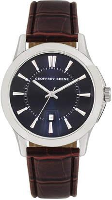Geoffrey Beene Navy Dial Brown Chroco Strap Watch