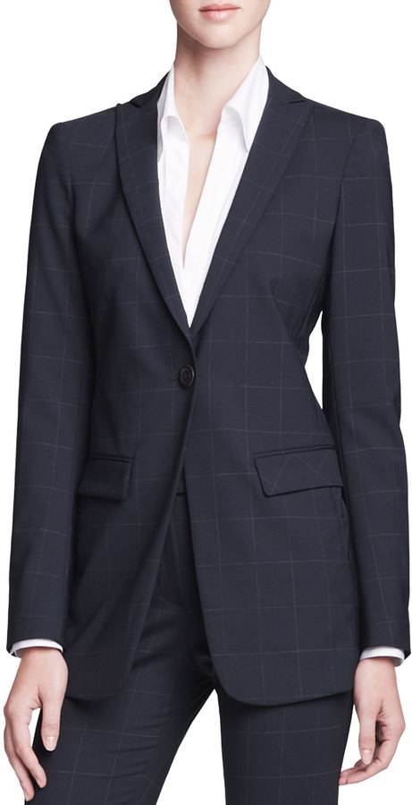 Armani Collezioni Long Unstructured One-Button Jacket, Navy/Multi