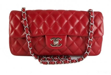 Chanel excellent (EX Red Lambskin East West E/W 10inch Medium 2.55 Classic Baguette Clutch Bag - Rare