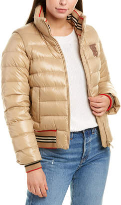 Burberry Icon Stripe Detail Leather-Trim Puffer Jacket
