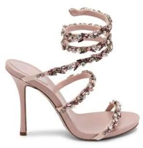 Rene Caovilla Jewel Satin Ankle-Wrap Sandals