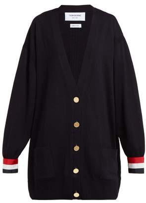 Thom Browne Oversized Striped Cuff Wool Cardigan - Womens - Navy