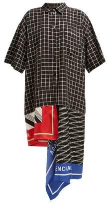 Balenciaga Scarf Panelled Striped Cotton Shirtdress - Womens - Black Multi