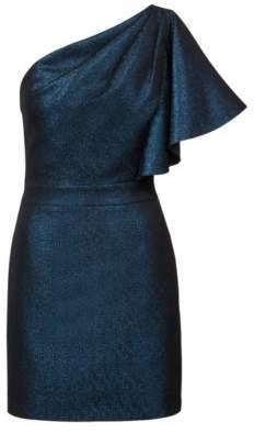 HUGO Boss Regular-fit one-shoulder evening dress in sparkly jersey 12 Patterned