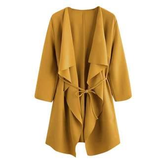 Muranba Coat Muranba Women Casual Pocket Front Wrap Cardigan Coat Outwear