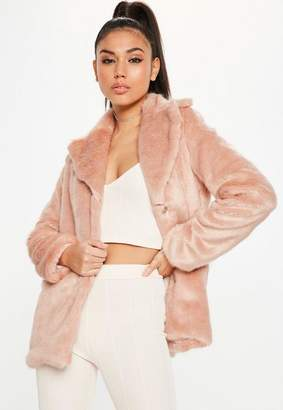 Missguided Collared Faux Fur Coat