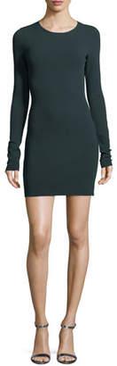 Diane von Furstenberg Long-Sleeve Crewneck Two-Tone Mini Dress