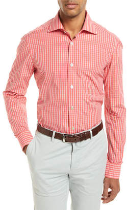 Kiton Check Long-Sleeve Shirt, Coral
