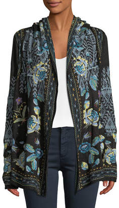 Johnny Was Beiro Hooded Floral-Embroidered Cardigan