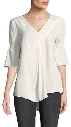 Halston H Shirred Elbow-Sleeve Top