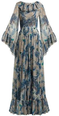 Luisa Beccaria Floral Print Ruffled Georgette Gown - Womens - Blue Print