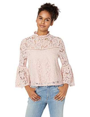 Jack by BB Dakota Junior's Wild Heart Floral Lace Bell Sleeve Top