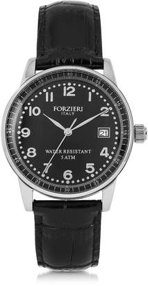 Forzieri Discovery Lady Silver Tone Stainless Steel Case and Genuine Leather Strap Women's Watch