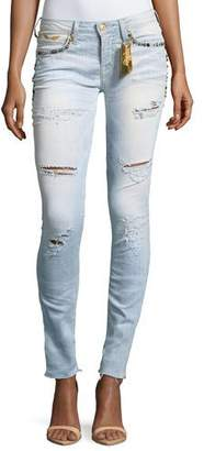 Robin's Jeans Marilyn Distressed Studded Skinny Jeans w/ Zip Cuffs