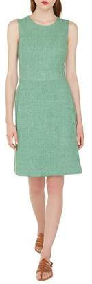 Akris Sleeveless Round-Neck A-Line Double-Face Linen-Wool Dress