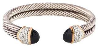 David Yurman Onyx & Diamond Double Cable Cuff