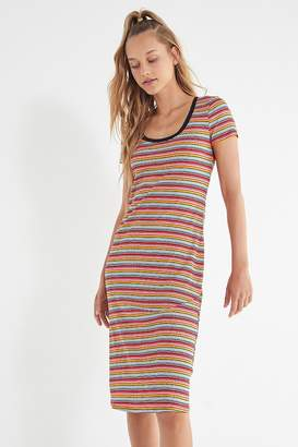 Urban Outfitters Striped Ribbed Knit Midi Dress
