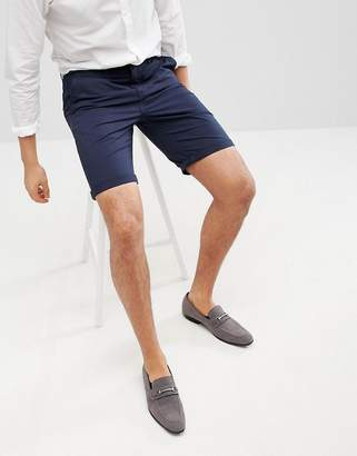 Solid Slim Fit Chino Short In Navy