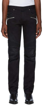 Balmain Black Straight Ribbed Jeans