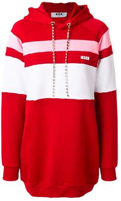 MSGM stripe panelled hoodie dress with gemstone embellished drawstring