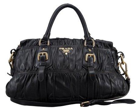 Prada Pre-owned: black gauffre ruched leather vintage top handle bag