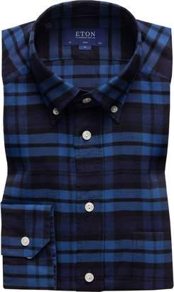 Eton Slim Fit Plaid Flannel Shirt