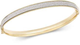 Italian Gold Glitter Bangle Bracelet in 14k Gold