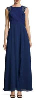 Aidan Mattox Lace-Trimmed Gown