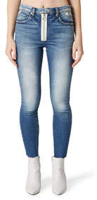 High-Rise O-Ring Distressed Cropped Skinny Jeans