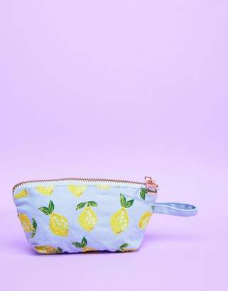 Elizabeth Scarlett Lemon Chambray Mini Travel Bag 13 x 10cm