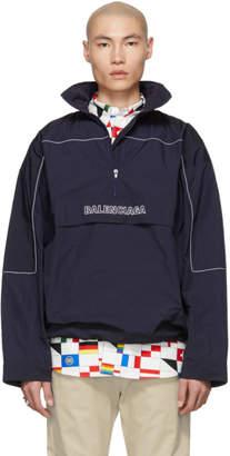 Balenciaga Navy 80s Crinkle Windbreaker Jacket