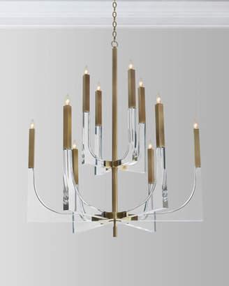 John-Richard Collection Acrylic Brass Finish Chandelier, 10 Lights