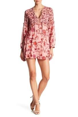 Avantlook Floral Print Split Neck Dress