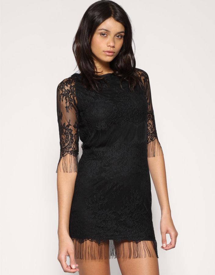 TFNC Eyelash Lace Scoop Back Dress