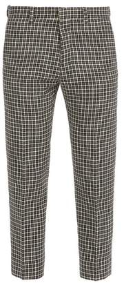 Ami Houndstooth Cropped Wool Blend Trousers - Mens - Black Multi
