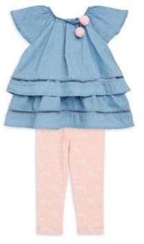 Jessica Simpson Baby's Two-Piece Light Wash Denim Top and Printed Pants Set