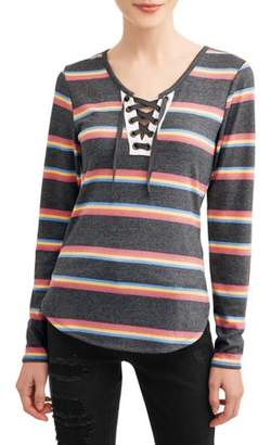 No Boundaries Juniors' Bright Striped Brushed Yummy Lace-Up Long Sleeve T-Shirt