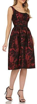 Kay Unger New York Scoop-Neck Jacquard Dress w/ Pockets